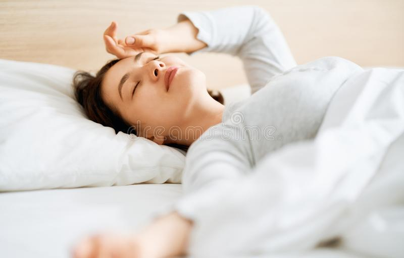 Young woman is sleeping royalty free stock photo