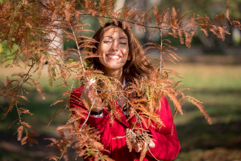 Beautiful young woman smiling behind an autumn tree royalty free stock photo