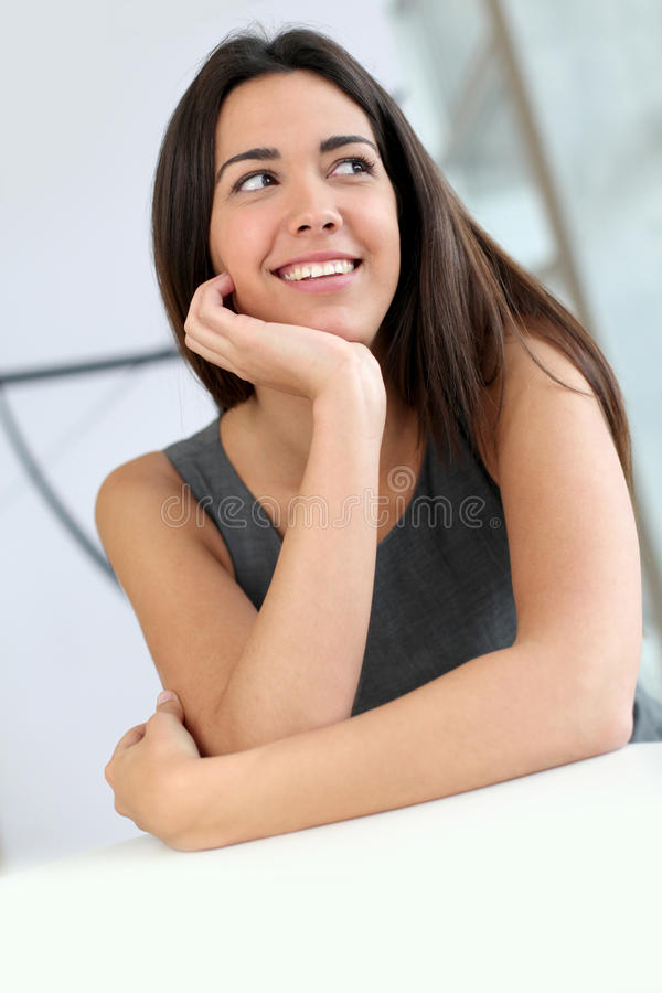 Beautiful young woman smiling stock images