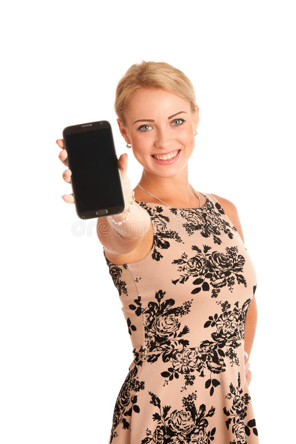 Beautiful young woman with snartphone stock photo