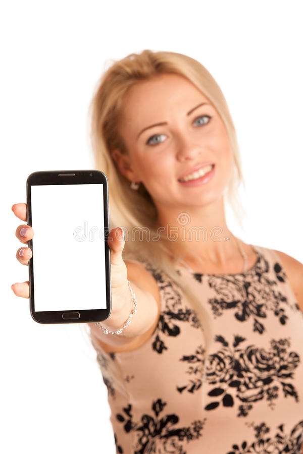Beautiful young woman with snartphone royalty free stock photography