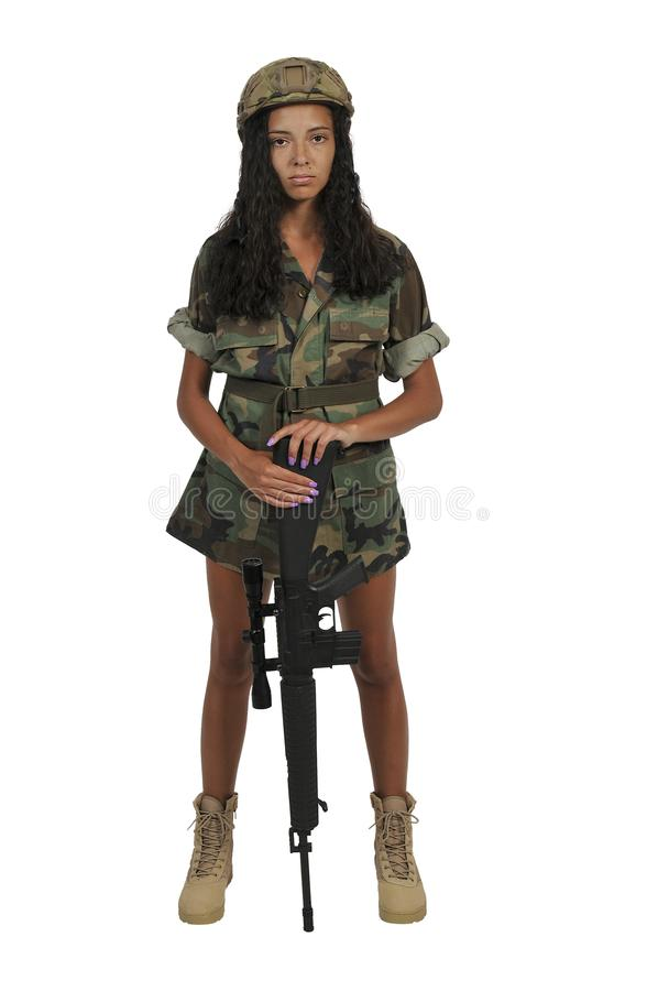 Young Woman Soldier royalty free stock images