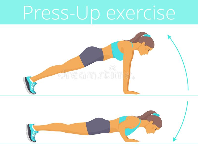 The beautiful caucasian young woman is doing the push up exercise. vector illustration