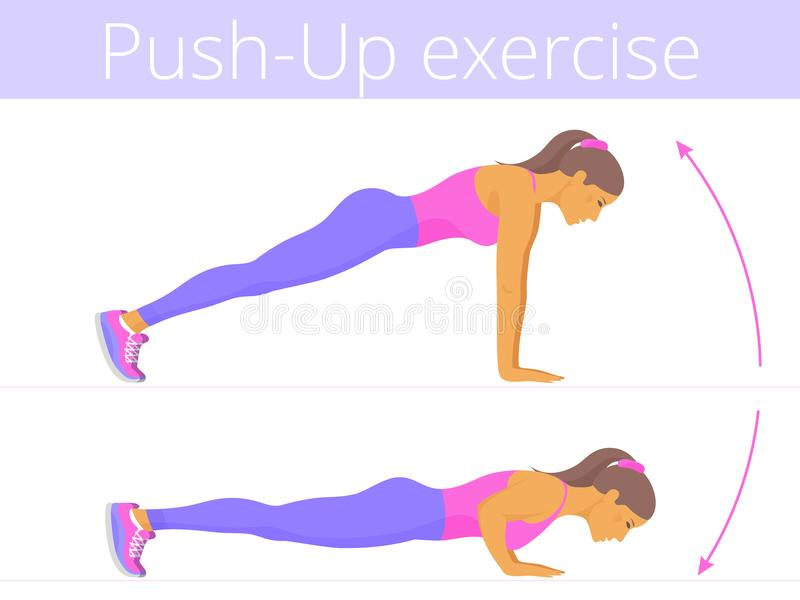 The beautiful caucasian young woman is doing the push-up exercise. Beautiful young woman in the sportswear is doing the push-up exercise. Flat illustration of royalty free illustration