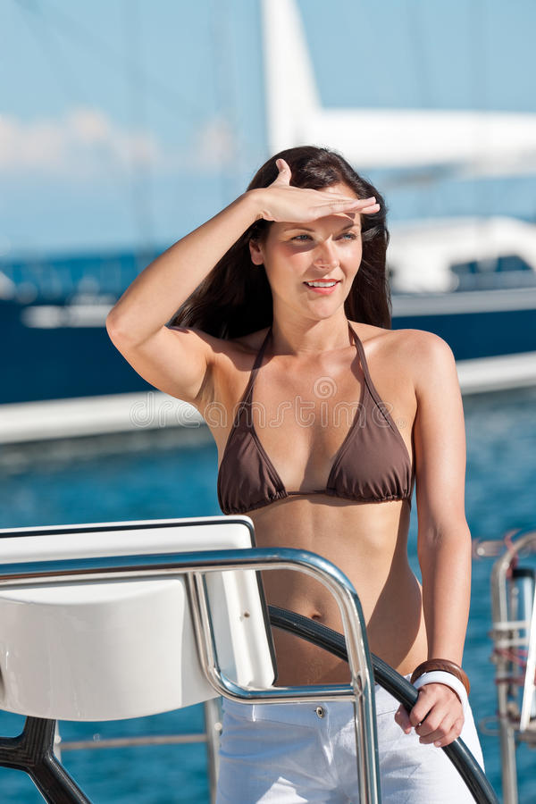 Download Beautiful Young Woman Standing On Luxury Boat Stock Photo - Image: 12544060