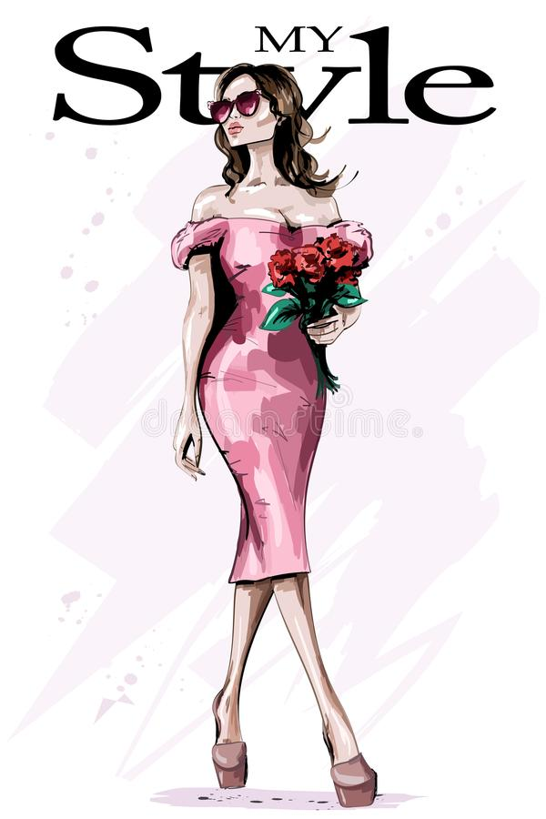 Beautiful young woman in stylish dress. Fashion woman with flowers. Elegant lady in sunglasses. royalty free illustration