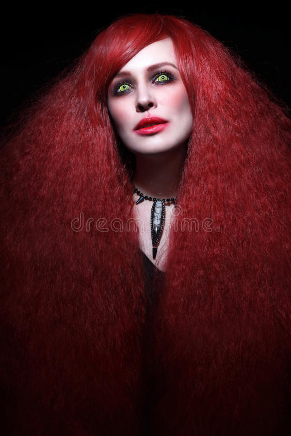 Beautiful young woman with stylish gothic make-up and long red h. Air stock image