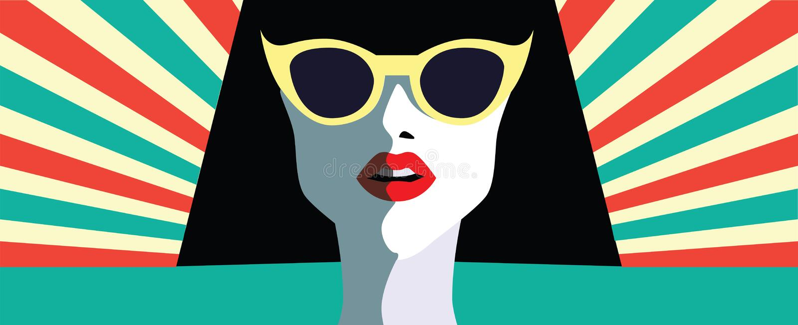 Beautiful young woman with sunglasses, retro style. Pop art stock illustration