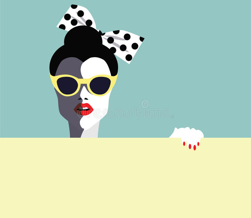 Beautiful young woman with sunglasses, retro style. Pop art royalty free illustration