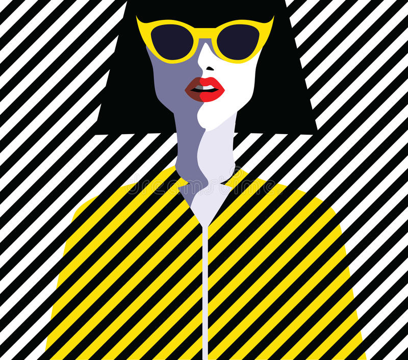 Beautiful young woman with sunglasses, retro style. Pop art vector illustration
