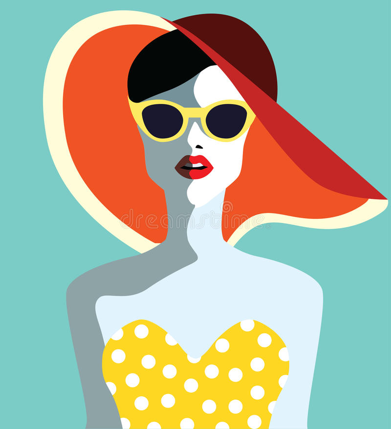 Beautiful young woman with sunglasses. Retro style. Pop art. Summer holiday vector illustration