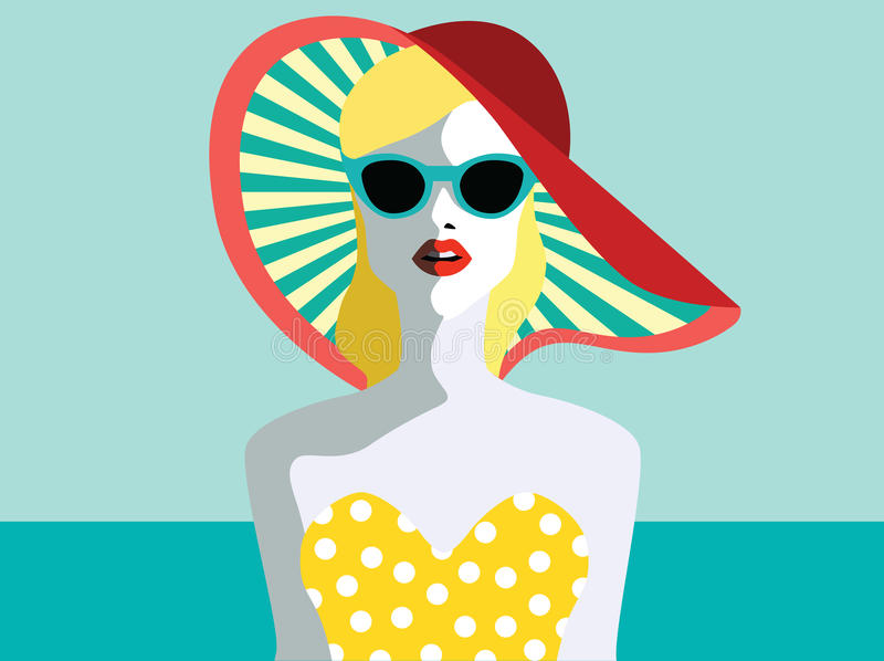 Beautiful young woman with sunglasses. Retro style. Pop art. Summer holiday stock illustration