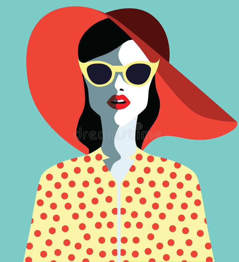 Beautiful young woman with sunglasses and watermelon, retro style. Pop art. Summer holiday vector illustration