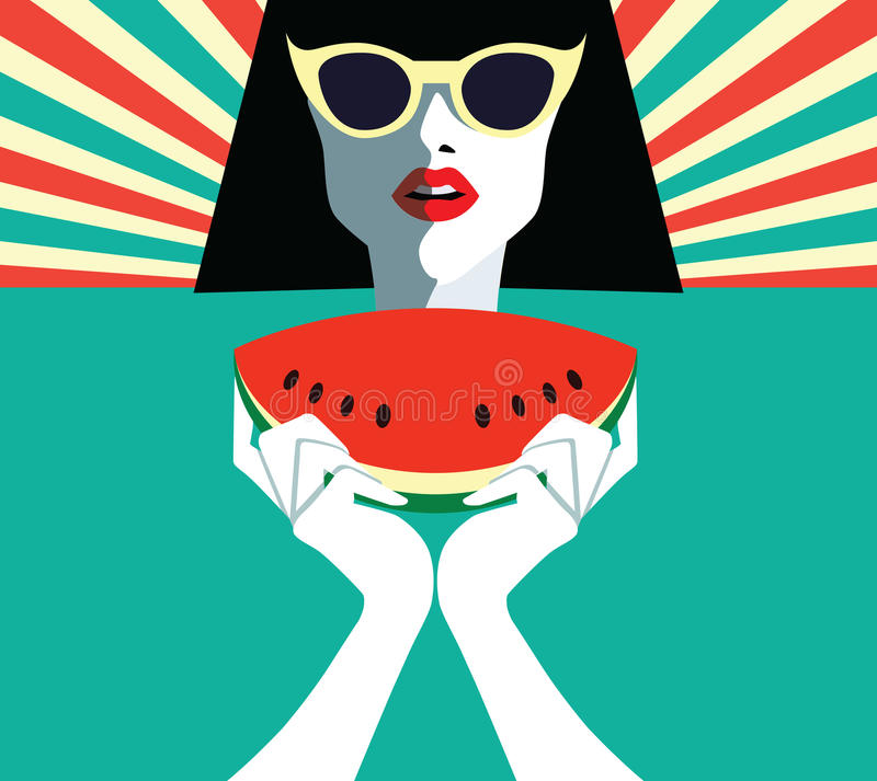 Beautiful young woman with sunglasses and watermelon, retro style. Pop art. Summer holiday stock illustration