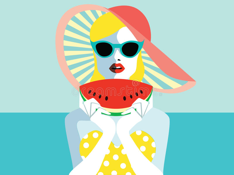 Beautiful young woman with sunglasses and watermelon, retro style. Pop art. Summer holiday royalty free illustration