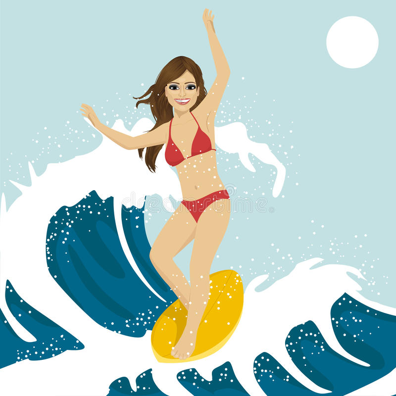 Beautiful young woman surfing on ocean waves. Blue ocean water crashing with splashes and drops stock illustration