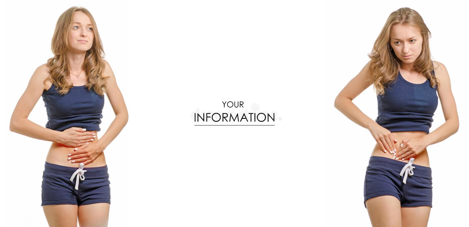 Beautiful young woman in t-shirt and shorts abdominal pain healthy medicine set pattern stock images