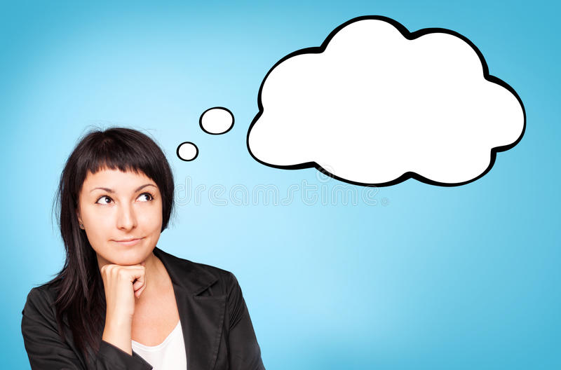 Download Beautiful Young Woman Think. Blue Background. Stock Images - Image: 26481794