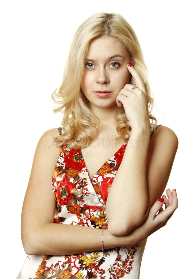 Beautiful young woman thinking royalty free stock photos