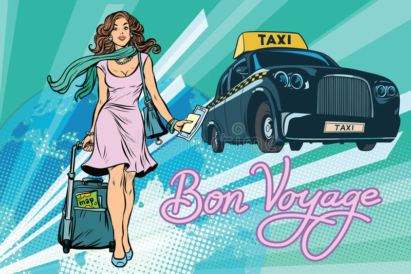 Beautiful young woman tourist passenger taxi. Pop art retro vector illustration stock illustration