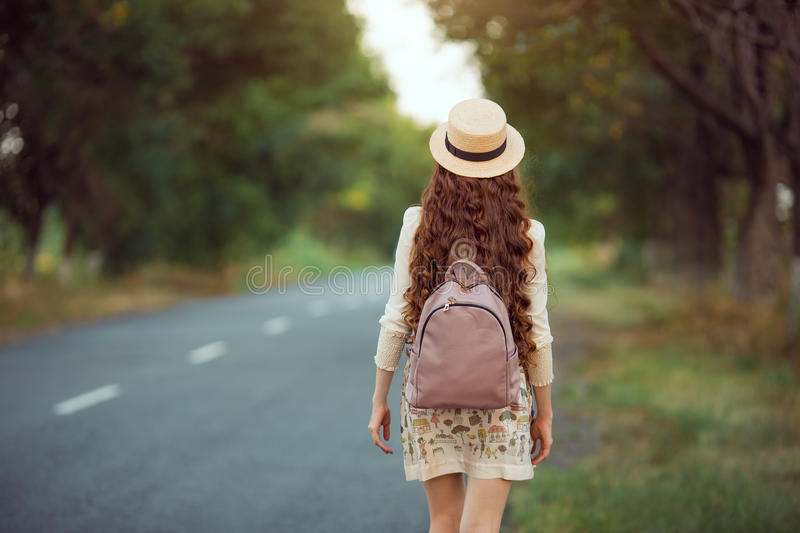 Beautiful young woman traveling. royalty free stock photography