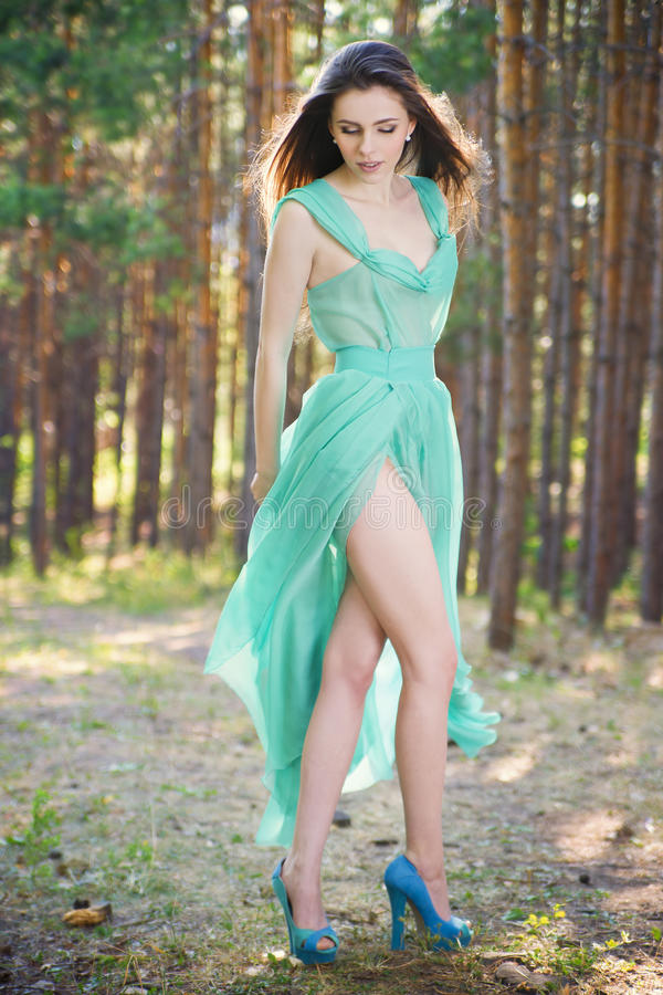 Beautiful young woman in a turquoise dress in a pine forest royalty free stock photo
