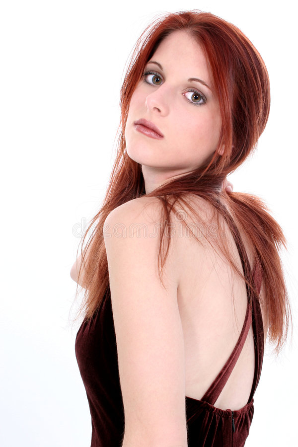 Beautiful Young Woman In Velvet Dress royalty free stock photography