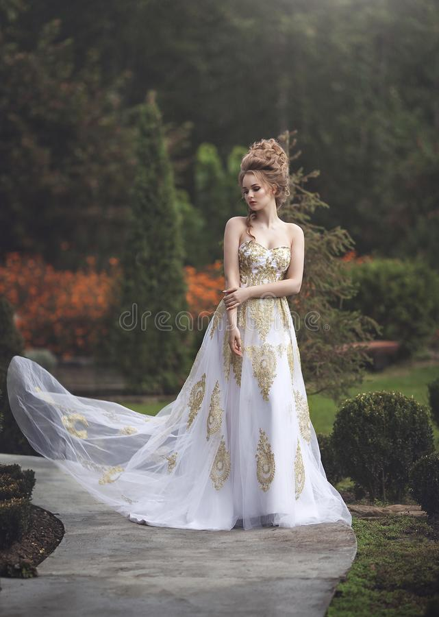 Beautiful woman in an old medieval dress, with a high complex historical hairstyle . royalty free stock photography