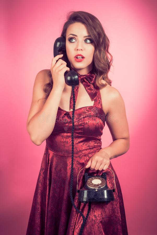 Pin Up Vintage Telephone stock photography