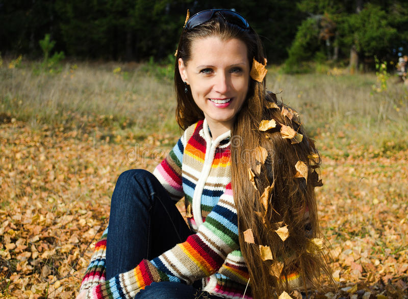 Download The Beautiful Young Woman On Walk In The Autumn Stock Photo - Image: 32251006