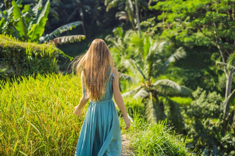 Beautiful young woman walk at typical Asian hillside with rice farming, mountain shape green cascade rice field terraces stock photo