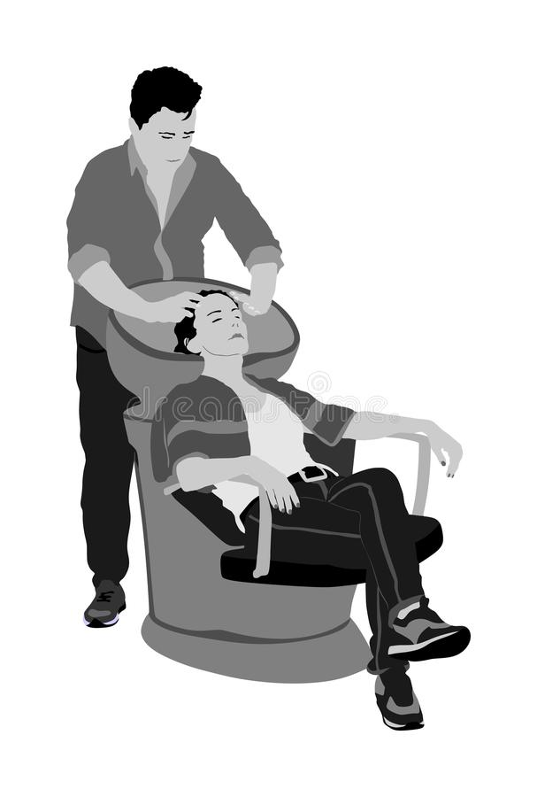 Beautiful young woman washes hair in a beauty salon vector illustration. Hairstylist washing client`s hair in hair washing chairs. vector illustration