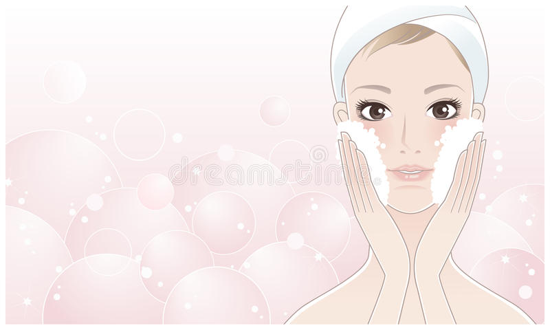 Beautiful young woman washing her face royalty free illustration