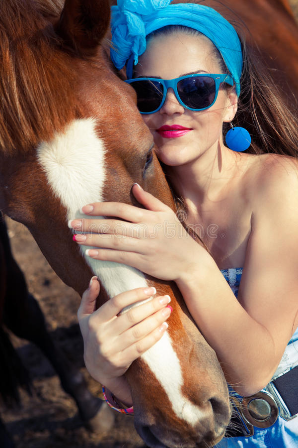Young Woman With A Horse Royalty Free Stock Photo