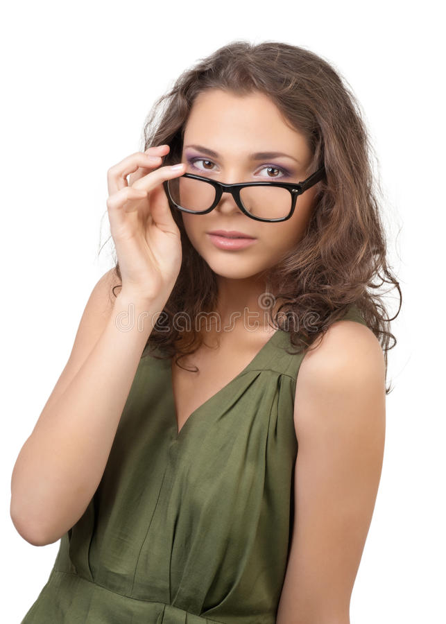 Beautiful Young Woman Wearing Glasses Stock Photos