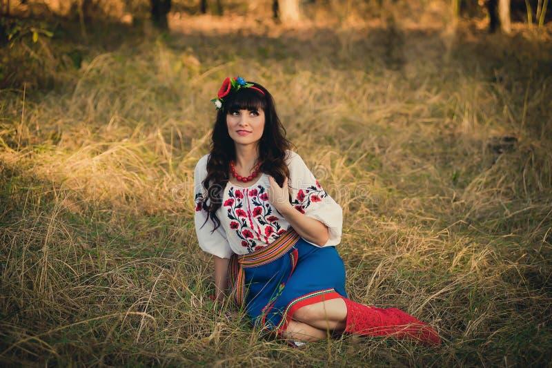 Beautiful young woman wearing national ukrainian. Clothes stock photos