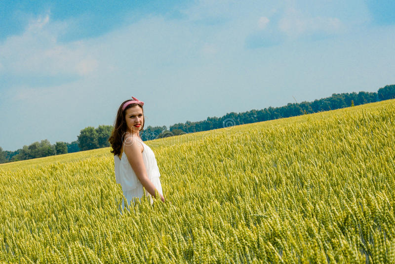 A beautiful young woman on a wheat field royalty free stock photography