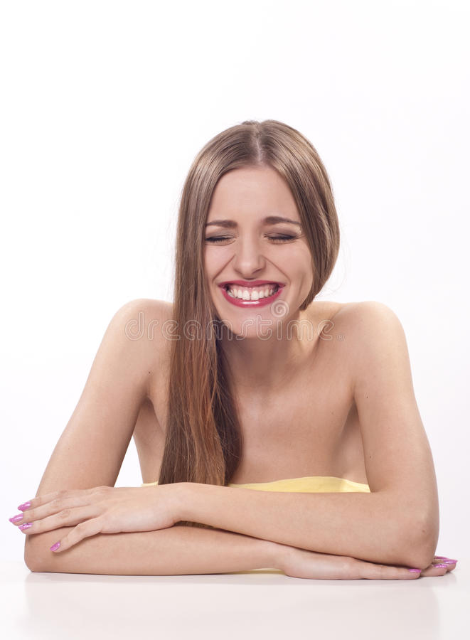 Beautiful young woman with wide smile stock photos