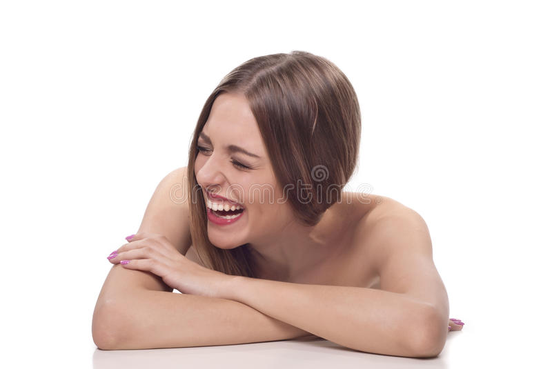 Beautiful young woman with wide smile stock photo
