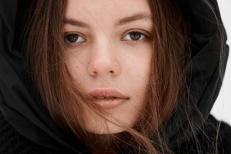 Beautiful young woman winter outdoor portrait pretty skin care royalty free stock photography