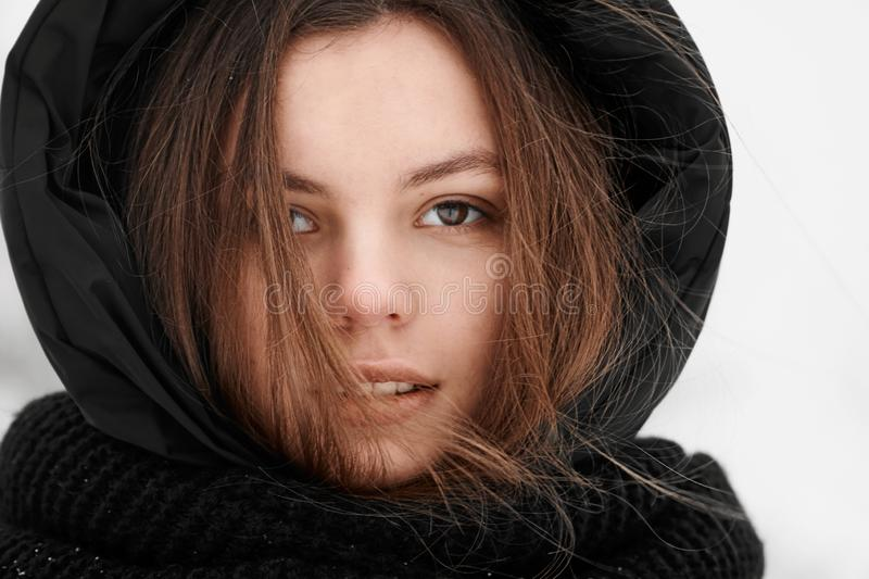 Beautiful young woman winter outdoor portrait pretty skin care stock photo