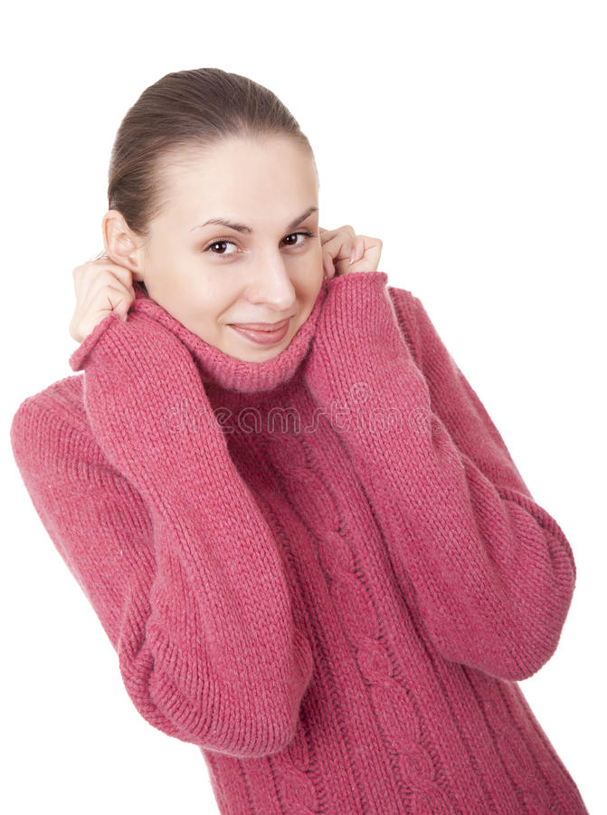 Beautiful young woman in winter sweater stock images