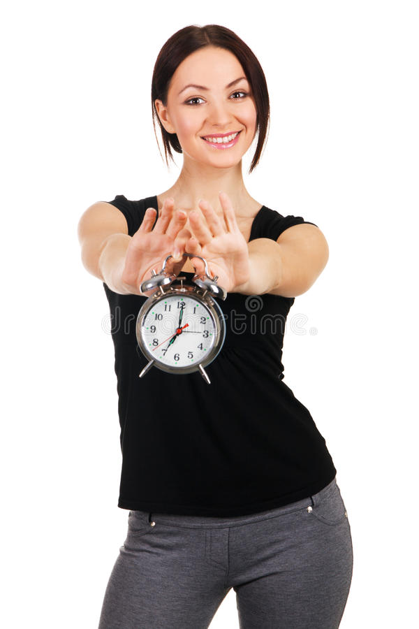 Free Beautiful Young Woman With Vintage Alarm Clock Royalty Free Stock Images - 14474099