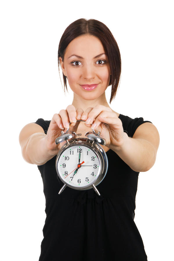 Free Beautiful Young Woman With Vintage Alarm Clock Royalty Free Stock Photos - 14655138