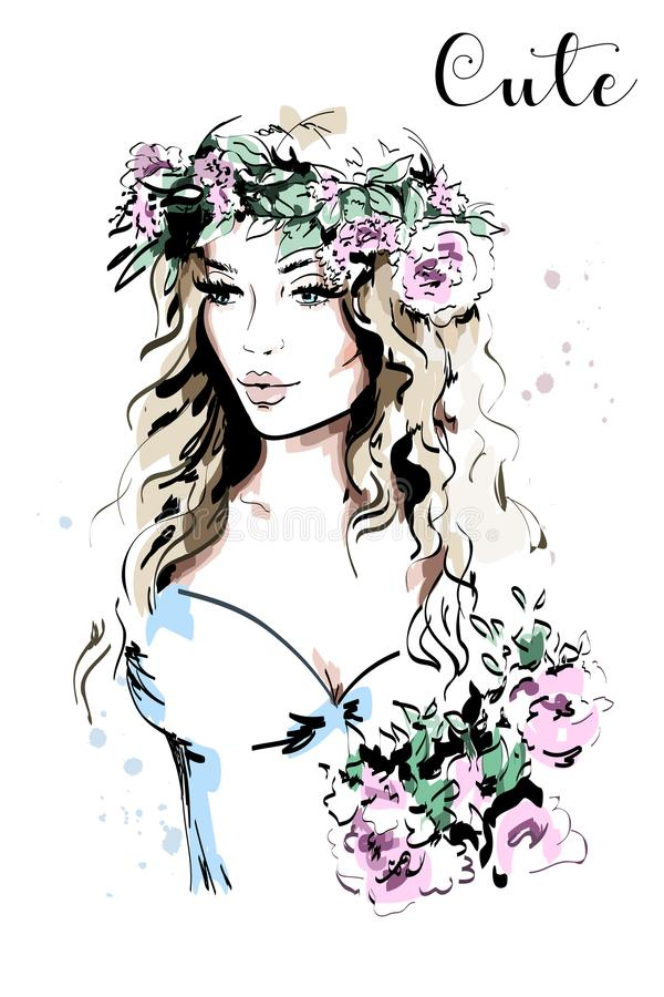 Beautiful young woman in wreath. Hand drawn woman portrait. Fashion lady. Sketch. Vector illustration vector illustration