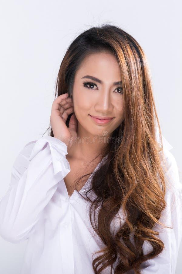 Women wear white shirt. royalty free stock image