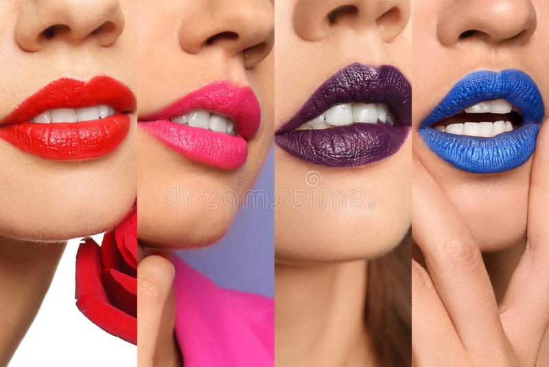 Beautiful young woman applying bright red lipstick on dark background, closeup. Beautiful young women applying bright red lipstick on dark background, closeup stock photos
