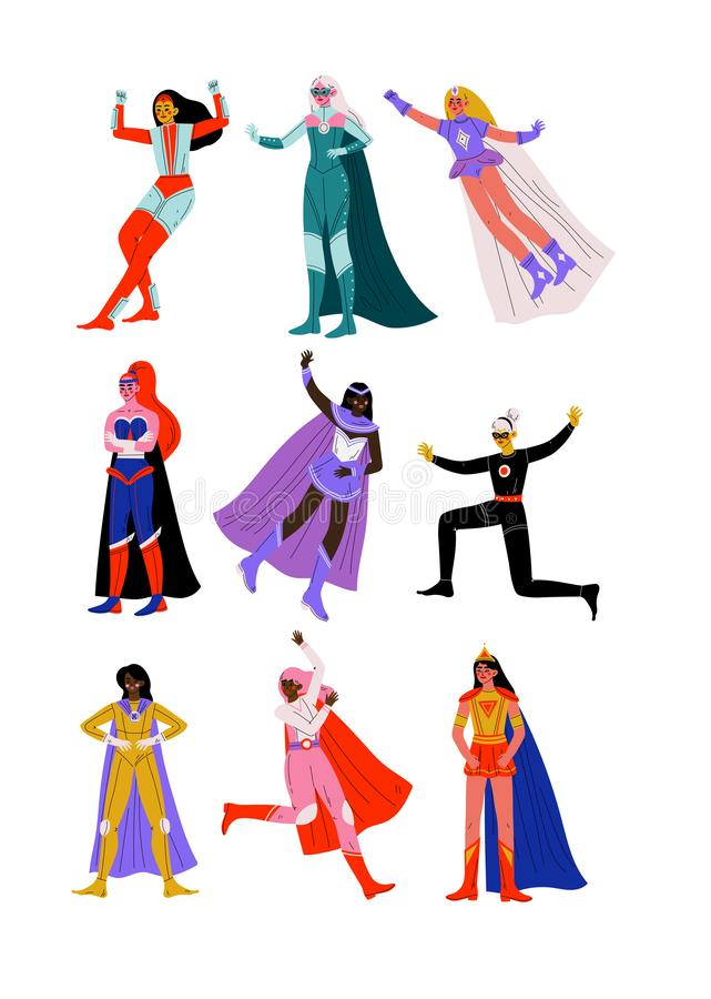Beautiful Young Women in Bright Superhero Costumes with Capes Set, Super Girls Characters in Different Poses Vector vector illustration