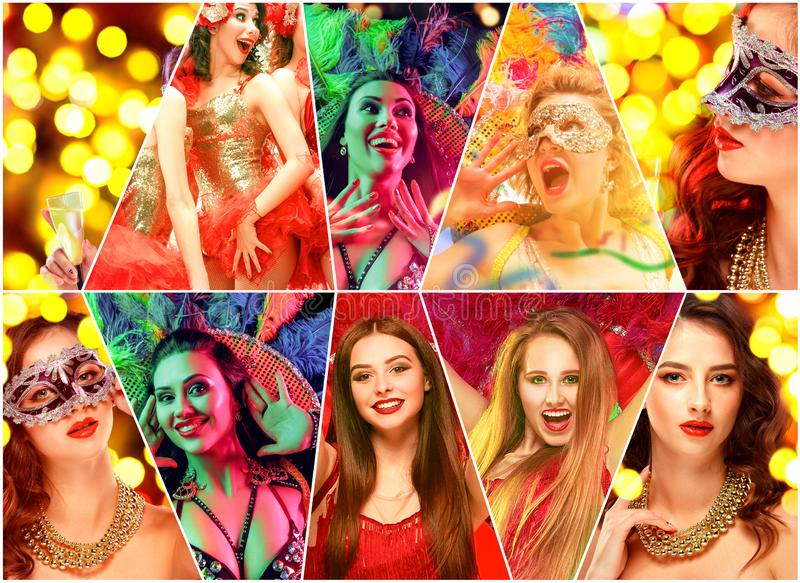 Beautiful young women in carnival mask. Beautiful surprised women in carnival mask. Models wearing masquerade masks at party on background with magic glow royalty free stock photos