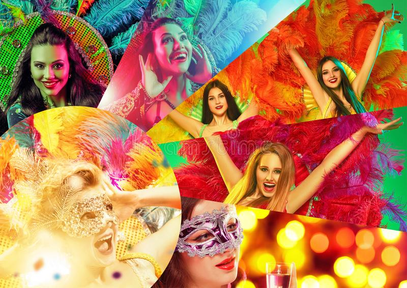 Beautiful young women in carnival mask. Beautiful surprised women in carnival mask. Models wearing masquerade masks at party on background with magic glow royalty free stock images